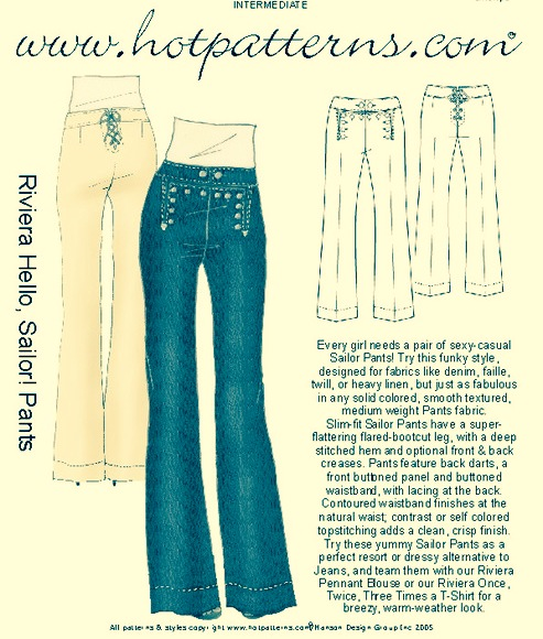 Pattern Du Jour Hot Patterns 40 Hello Sailor Pants A Word Is Classy Hot Patterns