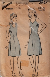 Advance 3067 slip pattern. Click through for a blog entry on garment ease and amounts in commercial patterns, including vintage and contemporary lingerie patterns and ease amount discrepancies.