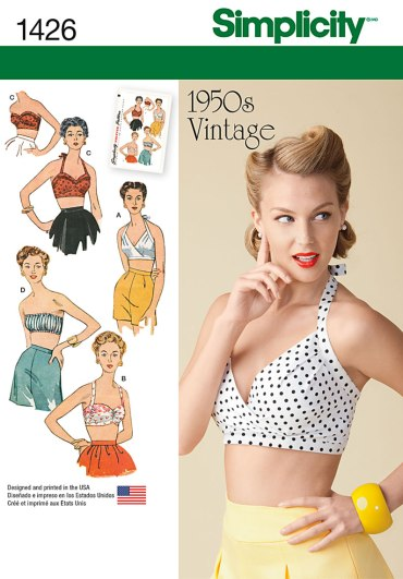 Simplicity 1426 bra pattern. For an in depth examination of ease amounts in vintage and contemporary lingerie patterns, click through to the blog.