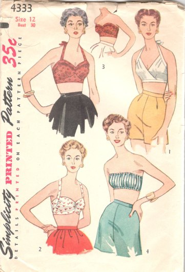simplicity 4333 1950s bra patterns