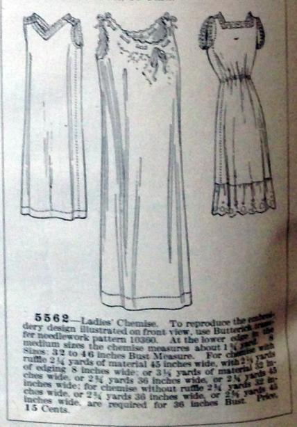 lingerie of 1915 butterick 5562 chemise 1