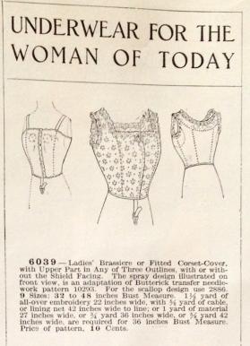lingerie of 1915 butterick 6039 brassiere 1