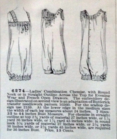 lingerie of 1915 butterick 6274 combination 9