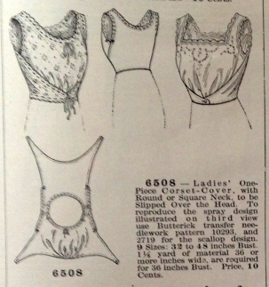 lingerie of 1915 butterick 6508 corset cover 2