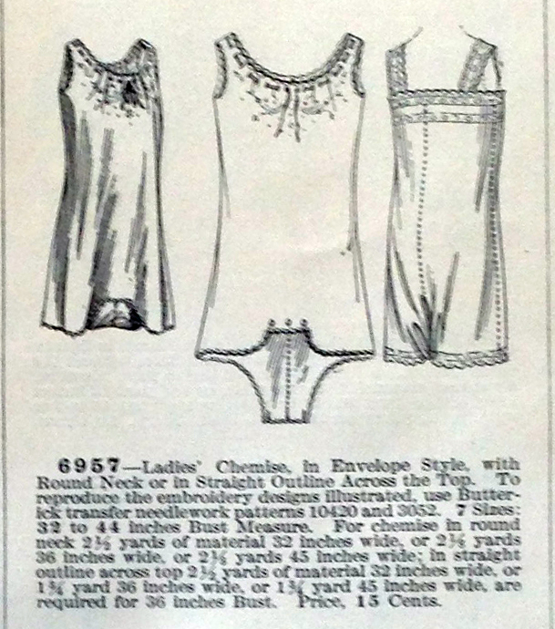 lingerie of 1915 butterick 6957 combination 8