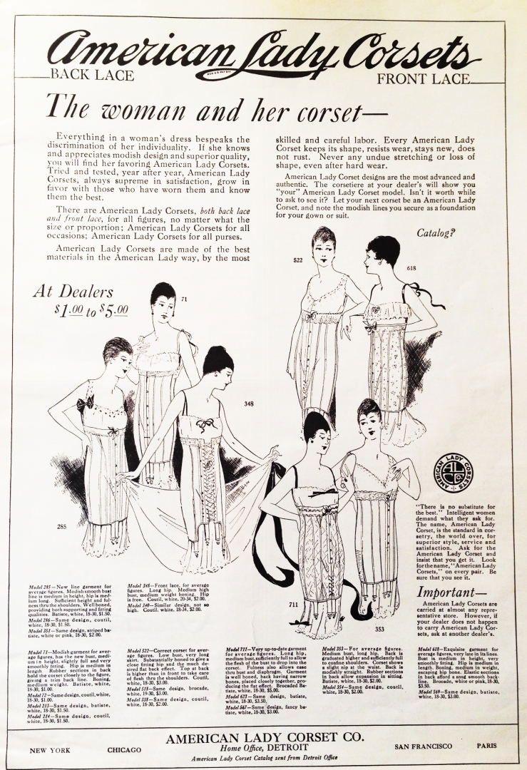 lingerie of 1915 corset ad