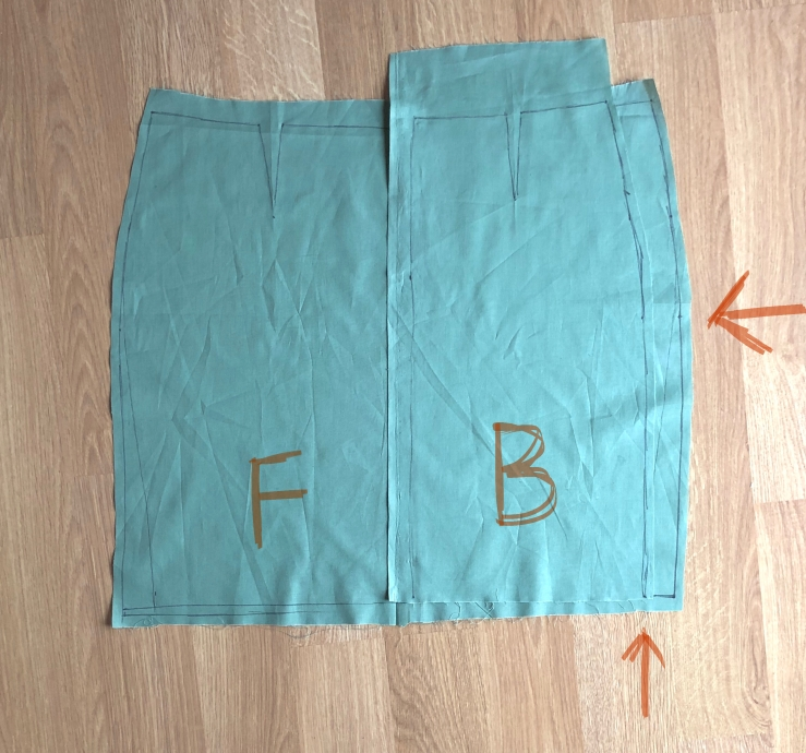 full abdomen sloper adjustment comparing front to back sizes align at hip and bottom edge