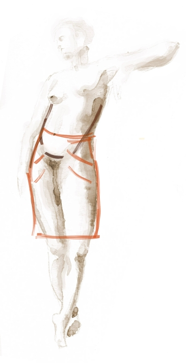 fabric is pulled forward by full abdomen, shifting side seams forward and causing drag lines